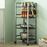 Four-tier metal dining car / cart / kitchen rack / multi-function storage rack microwave oven rack ( Color : B )