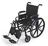Medline Robust and Rugged Wheelchair with Flip-Back Desk Arms, Removable Elevating Leg Rests and Anti-Tippers, Black, 18