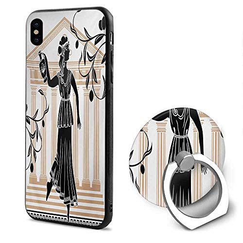 Toga Party iPhone x Cases,Greek Woman with Amphora Temple and Olive Branches Culture Folk Pattern Sand Brown Black,Design Mobile Phone Shell Ring Bracket ()