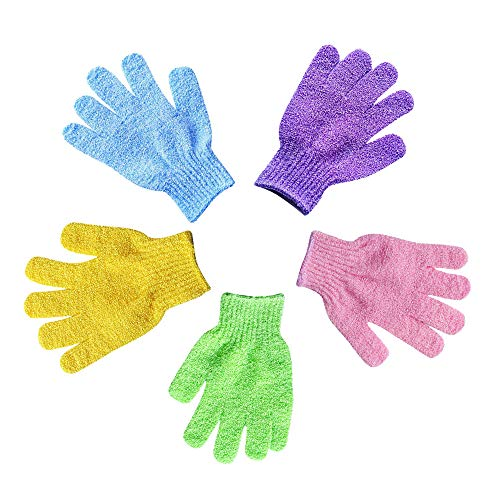 - 5pairs Exfoliating Bath Gloves, For Soft Skin and Improves Blood Circulation ,For Men and Women Scrubs Away Dead Cells(5 color set)