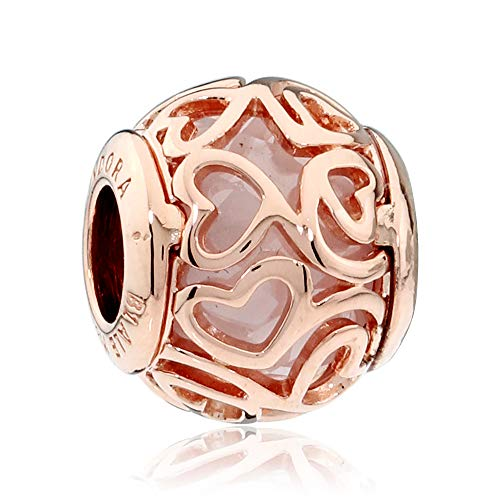 (Pandora Hearts Filigree Rose Gold Charm 787348CZ )