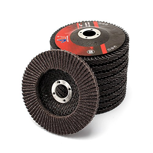 10Pcs 4''x5/8'' Premium High Density Calcined Aluminum Oxide Flap Disc 60 Grit by SIFANG (Image #4)
