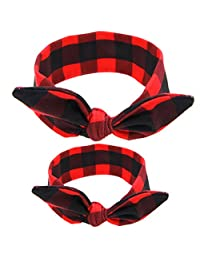ZOONAI 2PCS Mom and Baby Rabbit Ears Headband Parent Child Knot Hair Bands Infant Hair Accessories (Red Plaid)