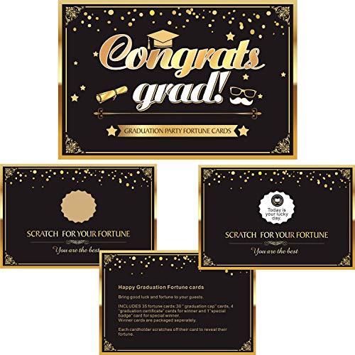 Frienda Graduation Cards, Graduation Party Favors Suppliers Black and Gold Graduation Scratch Off Fortune Cards, Graduation Party Game (Style 4, 35 Pieces) ()