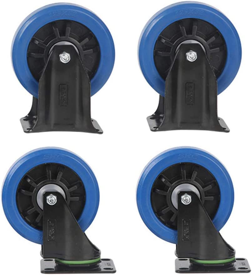 4in Casters,4 Item Medium Rubber High Elasticity Universal Wheel,Trolley Flatbed Truck Industry Directional Wheel,Replace Accessories Brake Wheel Strong Carrying Capacity//D