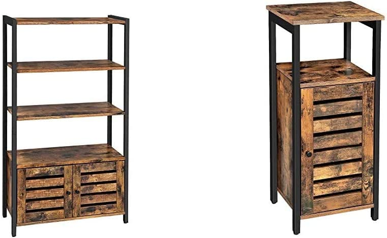 VASAGLE Lowell Bookshelf, Storage Cabinet with 3 Shelves and 2 Louvered Doors, Rustic Brown ULSC75BX & Lowell Storage Cabinet, Standing Cabinet, Industrial Floor Cabinet, Rustic Brown ULSC34BX
