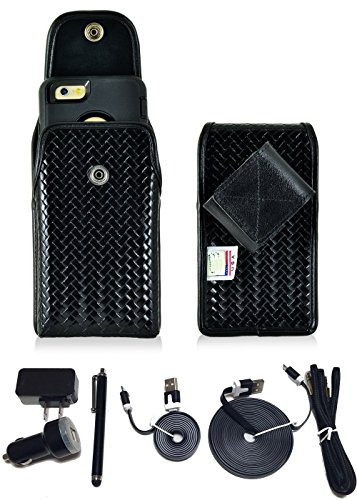 Law Enforcement Rugged Police Basketweave Genuine Leather Horizontal Duty Belt Case with Snap Closure and USB Power Kit fits Samsung Galaxy s7 Edge with an Otterbox Commuter Case