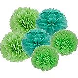 X-Sunshine 15Pcs 10'' 12'' 14'' Multi-Colors DIY Tissue Paper Flowers Pom Poms Wedding Decor Party Decorations Pom Pom Flowers Pom Poms Craft (Green Set)