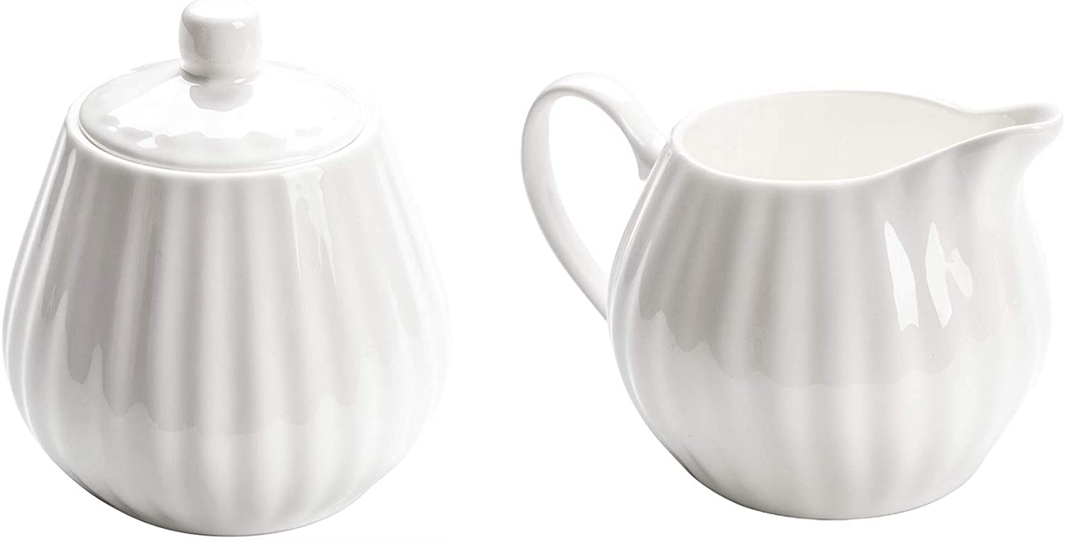 White Ceramic Cream Pitcher and Sugar Bowl Set with Lid,Coffee ...