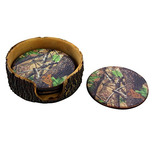 Pine Ridge Green Camouflage 4pc Coaster Set and Tree Trunk Holder Drink Coasters with Base for the Man Cave Decor Hunting Cabin Dining Furniture Gun Shop Décor (Decor Home Camouflage)