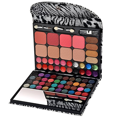 (Ecvtop All-in-one Makeup Kit Professional Eye Shadow Palette Lip Gloss Blush Eyebrow Powder,72 Colors)