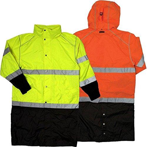 ML Kishigo RWJ108 Brilliant Series High-Viz Long Rain Coat, Fits 4X-Large and 5X-Large, Lime