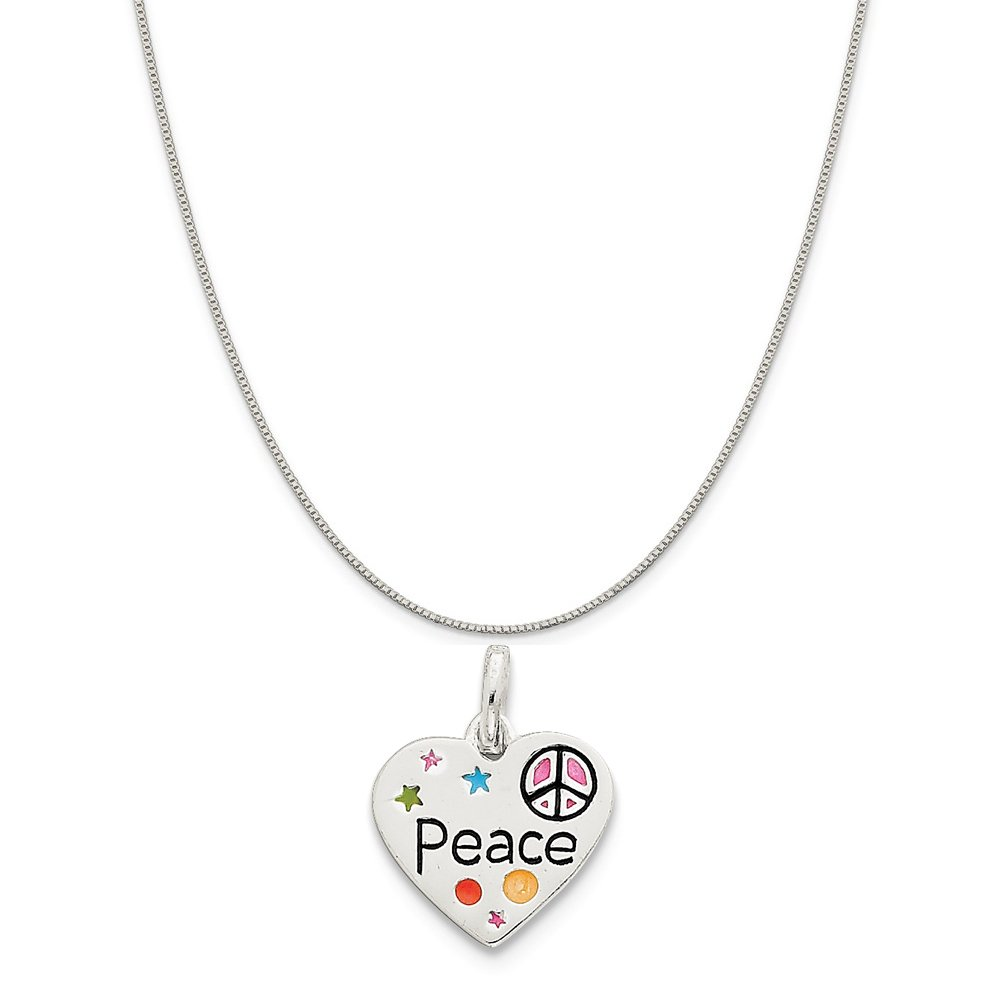 16-20 Mireval Sterling Silver Heart Photo Charm on a Sterling Silver Chain Necklace