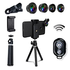 AFAITH 6-in-1 Phone Lens , Bluetooth Remote Control + Mini Tripod + Fish Eye + Wide Angle + Macro Lens + 2X Telephoto Lens for iPhone 7 / 7 Plus / 6s / 6 / 5 , Samsung Galaxy S8/ S7 / S7 Edge PA073