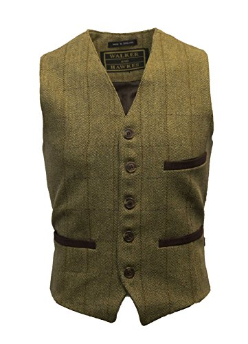 Walker & Hawkes - Mens Traditional English-Style Tweed Waistcoat Vest with Teflon - Light Sage - 3XL (English Tweed)