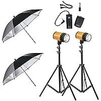Neewer Photo Studio Lighting Kit 600W-(2)300W Smart C-300/300SDI Studio Lighting Strobes,(2)190CM Light Stands,Black Silver 33 Umbrellas,RT-16 Wireless Flash Trigger & Receiver Set