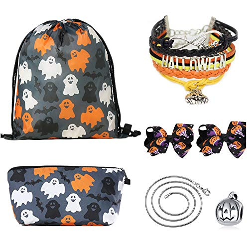 CMK TRENDY KIDS Christmas Day Gifts for Girls - Halloween Drawstring Backpack/Makeup Bag/Bracelet/Inspirational Necklace/Hair Ties ()