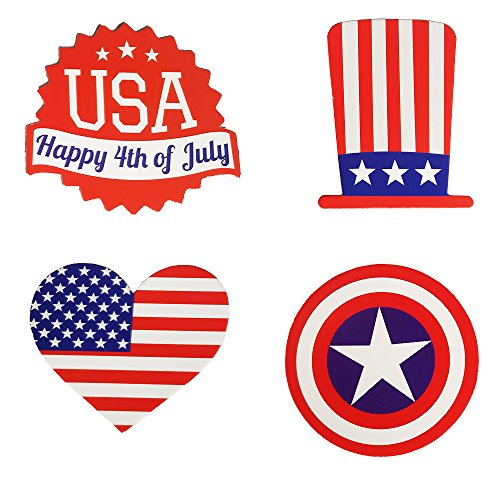 Baby Cupcake Gift Basket - Evoio American Flag Picks,4 Kinds 4th of July US Flag Picks,Cupcake Toppers Toothpick for Party Decorations,School Events, Independence Day,Cupcake Toppers Picks Decoration 48Pcs