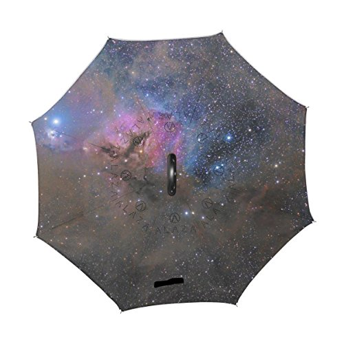 AHOMY Inverted Reverse Umbrella Galaxy Stars Starry Windproof for Car Rain Outdoor