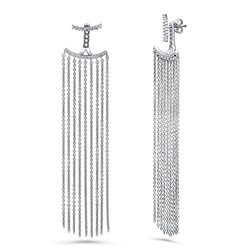 - BERRICLE Rhodium Plated Sterling Silver Cubic Zirconia CZ Statement Fringe Fashion Dangle Chandelier Earrings