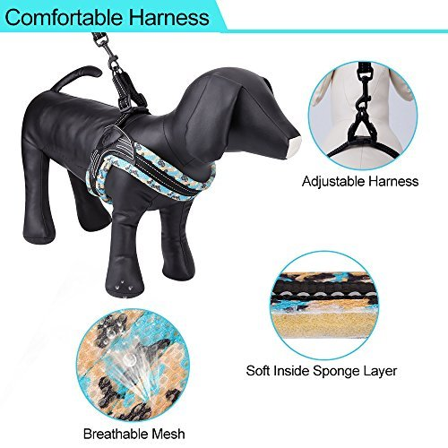 SIAYI Dog Harness & Leash Set, Reflective No-Pull Comfort Padded Walking Harness Vest and Dog Leash with Cushioned Handle, Adjustable & Lightweight for Small Medium & Large Size Dogs (S)