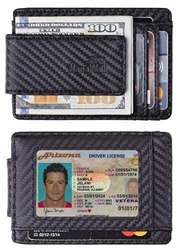 Toughergun Genuine Leather Magnetic Front Pocket Money Clip Wallet RFID Blocking (Carbon Fiber Leather Black) ()