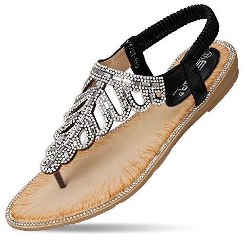Rhinestones Ladies Sandals - CARETOO Ladies Flat Sandals Shoes, Women Fashion T Strap Summer Flip Flops Sandal, Rhinestone Bling Backstrap Beach Sandal