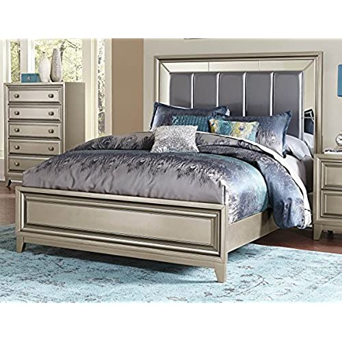metalic graphite grey bronze bedroom furniture hedy cal king bed - Glam Bedroom Furniture