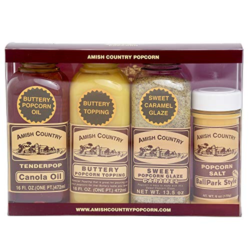 Amish Country Popcorn - Boxed Gift Set - Canola Oil, Buttery Topping, Sweet Caramel & BallPark Style Popcorn Salt - Old Fashioned Popcorn Toppings and Seasonings with Recipe Guide