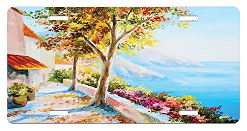 ate by Lunarable, Summer House Sea Mountain Terrace Trees and Flower Bed in Autumn, High Gloss Aluminum Novelty Plate, 5.88 L X 11.88 W Inches, Pale Blue Pink and Green ()