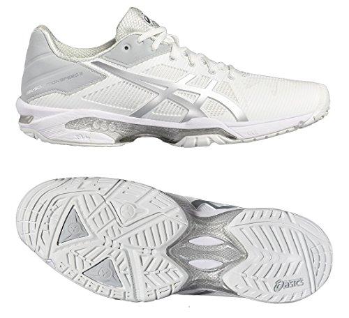 Asics Gel-Solution Speed 3, Zapatillas de Gimnasia para Hombre, Blanco Blanco (White/silver)