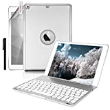 iPad Pro 9.7 Keyboard Case, Boriyuan Aluminum 7 Color Backlit Wireless Bluetooth Keyboard Folio Smart Cover for Apple iPad Pro 9.7 with Foldable Stand Function + Screen Protector + Stylus, Silver