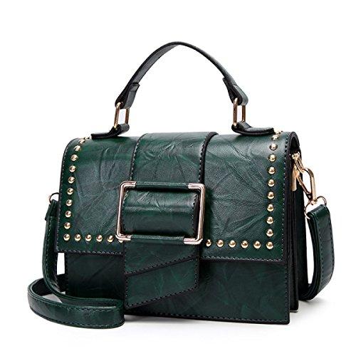Main Pour Green Rivets Femmes Bandoulière Sacs Black à Sacs à Diagonal à Main Sacs qEwOgSzOx