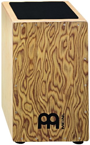 Meinl Percussion CAJ8MB-M String Cajon with Pickup, Makah Burl Front Plate, Wood/Brown