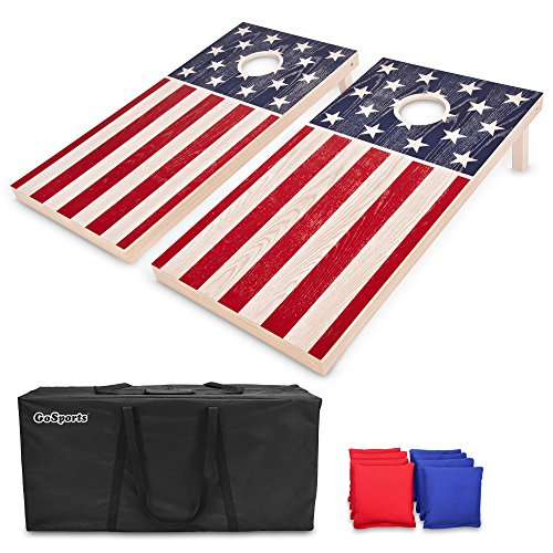 GoSports Regulation Size Solid Wood Cornhole Set – American Flag Design – Includes Two 4' x 2' Boards, 8 Bean Bags, Carrying Case and Game Rules ()
