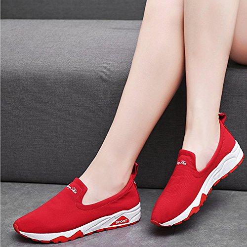 Jogging Anti Rutsch 3 Loafers Rot Blau Leichte Schwarz Sneaker Walking 5CM 35 Comfort Atmungsaktives Kotzeb Rot Turnschuhe Top Fitness Running 40 Flach Gewebe Weiß Damen Low aFwvqZCW