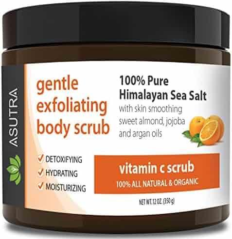 "ASUTRA Organic Exfoliating Body Scrub - ""VITAMIN C SCRUB"" - 100% Pure Himalayan Sea Salt Scrub/Ultra Hydrating & Moisturizing with SKIN SMOOTHING Jojoba, Sweet Almond & Argan Oils - 12oz"
