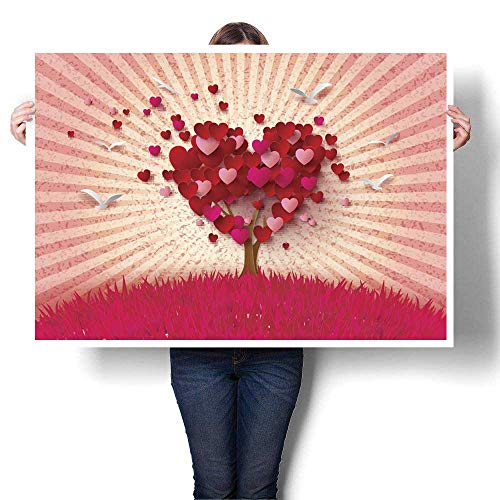 Anyangeight Canvas Wall Art Love Tree with Heart Leaves Decorative Fine Art Canvas Print Poster K 20