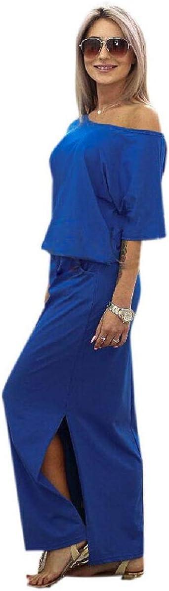 CAOQAO elegancka damska sukienka balowa, sukienka ślubna, odświętna sukienka do sukienki na lato, długa sukienka maxi boho, wieczorowa, na imprezę, z torbą: Odzież