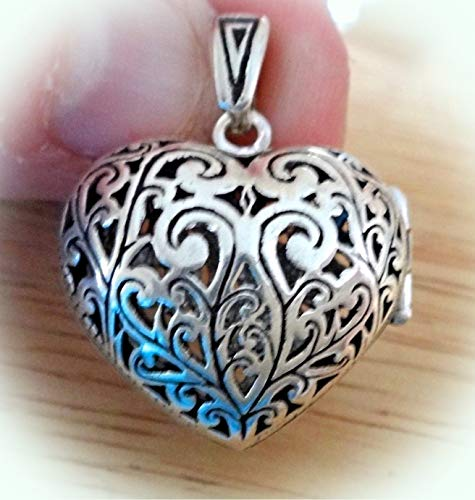 Sterling Silver 3D 25x24x10mm Without Bale Movable Cut Out Heart Locket Charm Vintage Crafting Pendant Jewelry Making Supplies - DIY for Necklace Bracelet Accessories by CharmingSS