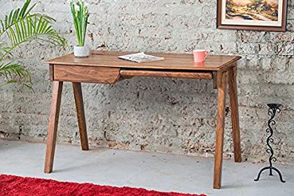DriftingWood Sheesham Wood Curve Legs Study Table for Home and Office | Rich Honey Finish