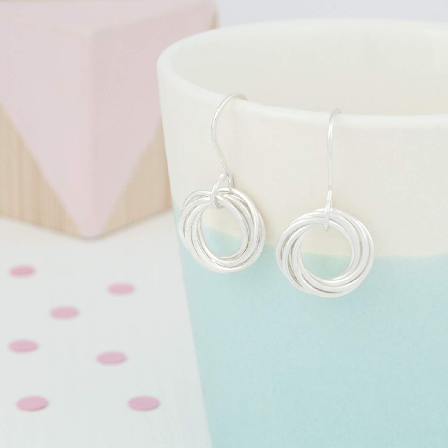60th Birthday Gift For Her 60th Birthday Earrings with 6 Rings For 6 Decades