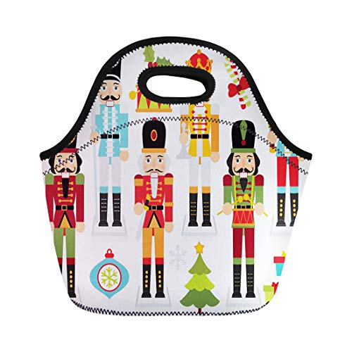 Semtomn Lunch Tote Bag Cracker Christmas Nutcrackers Nut Boy Clipart Crown Drum Drummer Reusable Neoprene Insulated Thermal Outdoor Picnic Lunchbox for Men Women
