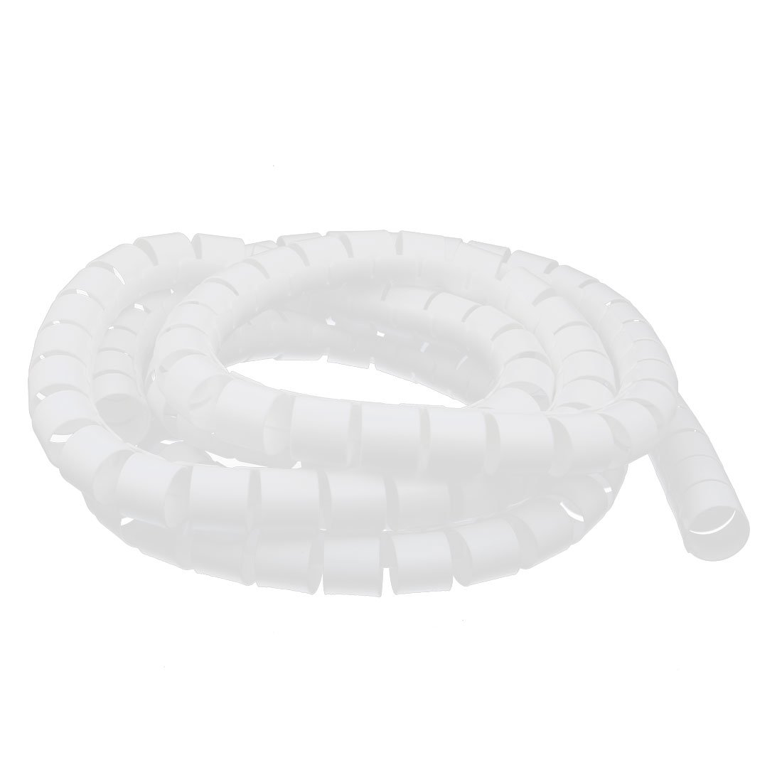 uxcell 30mm Dia Flexible Spiral Tube Cable Wire Wrap White 3.5 Meters Long with Clip