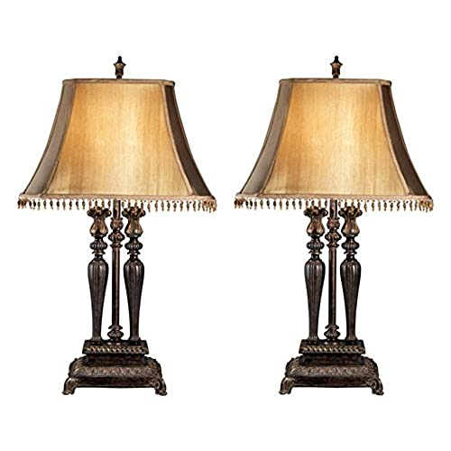 Wonderful Ashley Furniture Signature Design   Desana Traditional Table Lamp   Set Of  2   Silky Beige Shades   Dark Brown With Gold Finish
