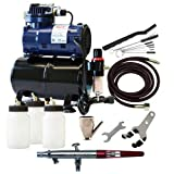 Paasche Airbrush MIL-300R Double Action Siphon Feed Airbrush Set and Compressor with Tank