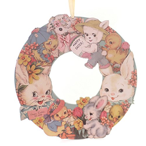 Easter VINTAGE EASTER WREATH Wood Bunny Chicks Flowers