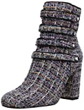 The Fix Women's Sadie Military-Inspired Four-Strap Ankle Boot with Jewel Buttons, Black Multi, 7.5 B US