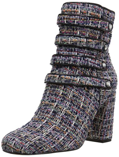 - The Fix Women's Sadie Military-Inspired Four-Strap Ankle Boot with Jewel Buttons, Black Multi, 10 B US
