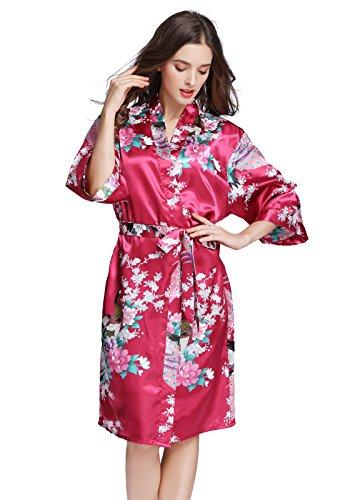 J.ROBE Women's Printing Lotus Kimono Robe Short Sleeve Silk